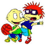 Tommy and Chuckie Playing basketball