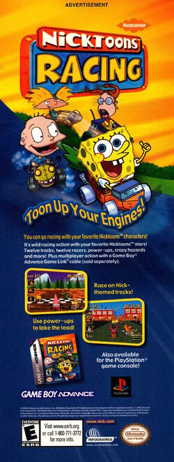 Nicktoons Racing Gameboy advertisement Nickelodeon Magazine June July 2002