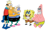 Barnacle Boy, Mermaid Man, SpongeBob, and Patrick stock art