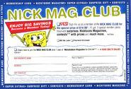 April 2006 Nickelodeon Magazine Nick Mag Club sign up card