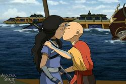 Aang und Katara küssen