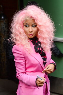 Nicki-Minaj-Good-Morning-America-Pink-Suit-Giuseppe-Zanotti-Napa-Exaggerated-Platform-Peep-Toe-Heels-1
