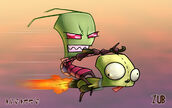 60744 - 2boys alien antennae flying gir green skin invader zim red eyes riding zim