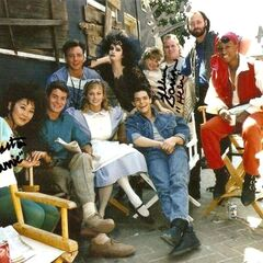The cast on set.