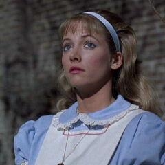 Judy dressed as Alice in Wonderland.
