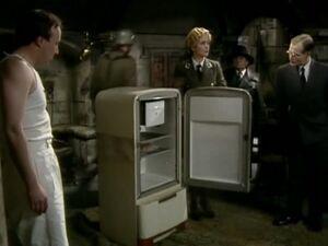 Herr Flick with a fridge