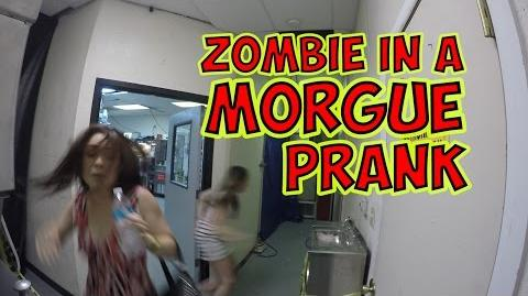 ZOMBIE IN A MORGUE PRANK FIGHT OF THE LIVING DEAD