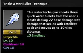 Triple water bullet lvl1