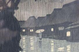 Hasui Japanese Woodblock Print Rain at Miekawa Soshu First Half 20th Centur 16277 C