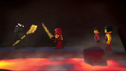 Kai and Garmadon in the fire temple