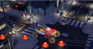 Blurry picture of ninja vechicles chasing the mechanics noodle truck.
