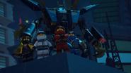 Ninjago Kai with his Twin Katanas on his back and the other Ninja
