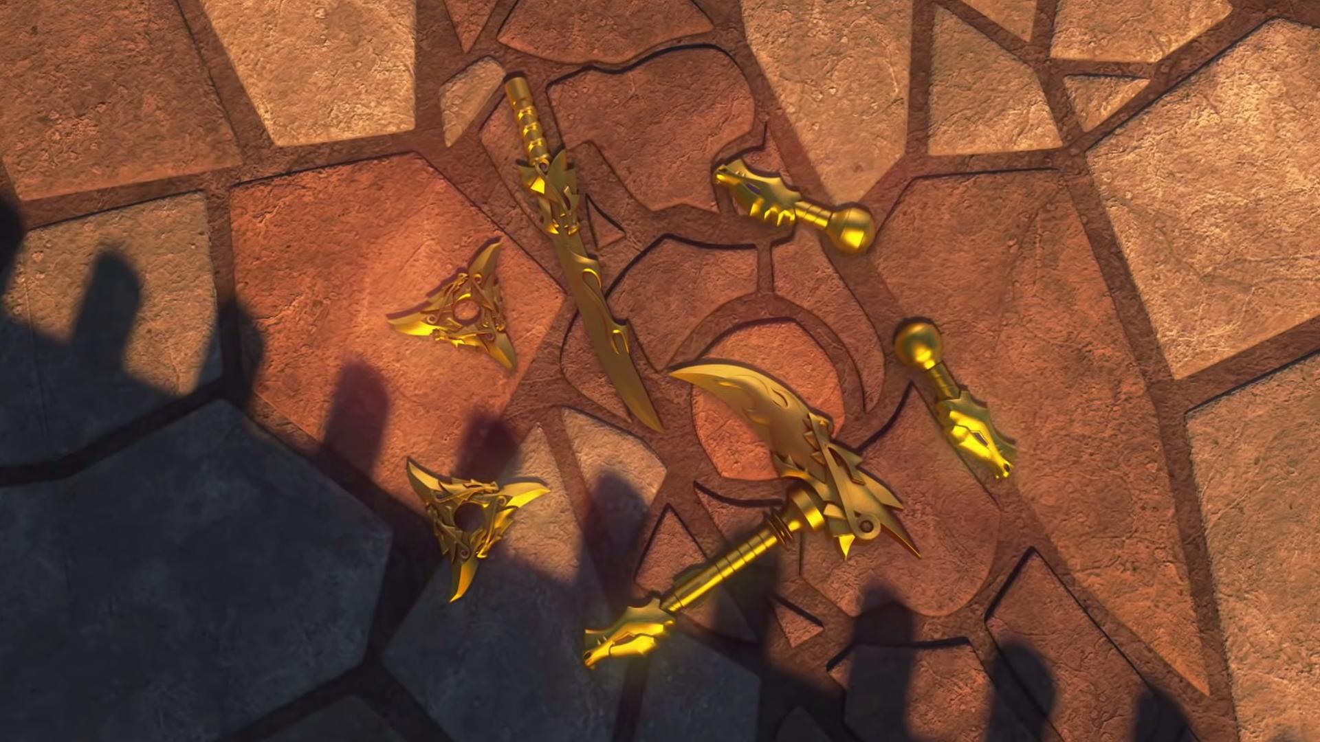 LEGO NINJAGO GOLDEN WEAPONS OF SPINJITZU Cole Jay Kai Zane ninja dragon sword