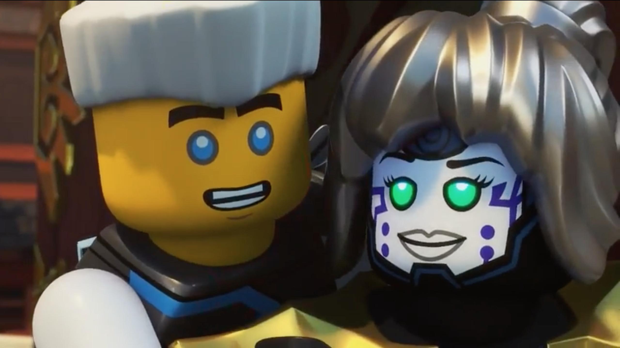 NEW Lego Ninjago Female Pixal MINIFIG HEAD White Red Green Eyes Robot Girl Smile