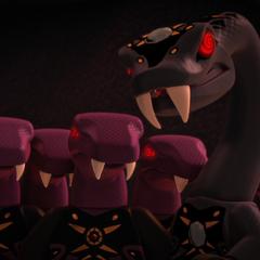 Pythor y los anacondrai hipnotizados antes de ser encerrados