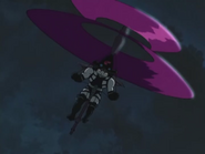 Magai flying using his umbrella