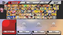 Smash Bros. Wii U Character Select screen