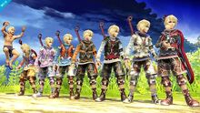 Shulk's costumes Smash
