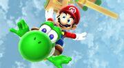 Mario and Yoshi Fly