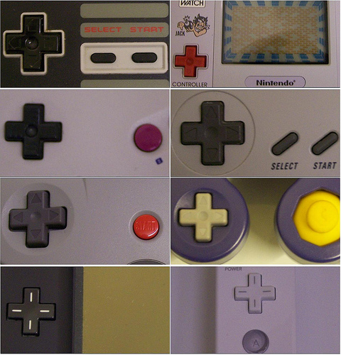 Dpad Various Different Nintendo D Pads Clockwise From Top Left NES Game Watch SNES GameCube Wii DS Lite 64 Boy