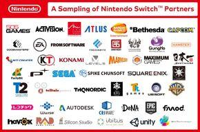 Lista inicial de compañias aliadas a Nintendo Switch