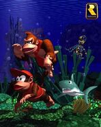 Donkey Kong Country Underwater Title Screen SNES version.