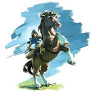 Art de Link y su caballo en The Legend of Zelda (2017)