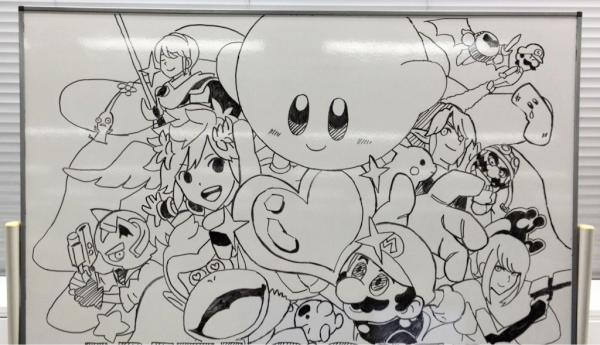 White Board Super Smash Bros Wii U 3DS Staff Drawing