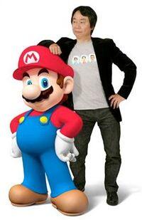 Shigeru Miyamoto and Mario