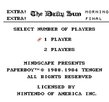 Paperboy Title Screen