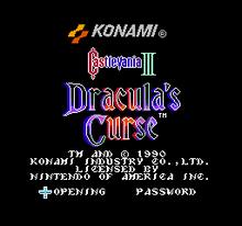 Castlevania III Title Screen