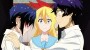 Chitoge discovers Raku and Seishirō in one locker