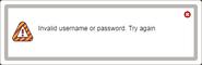 Invalid credentials