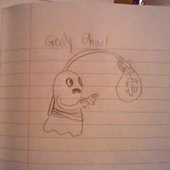 Concept art and finalized design for the Greedy Ghoul.