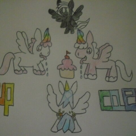 Flash (Left) Dash(Right) Darksong (Top) and Comet (Bottom) With Cupcaek