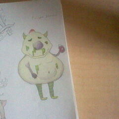 Concept art and finalized design for Poison Demon.