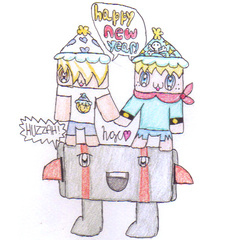 Carter and his Best Buddy Wishing you a Happy New Year (ontop Balrog)