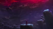Riku overlooking a destroyed ship