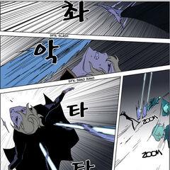 Rael dodges the trio's attacks