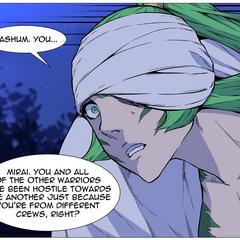 Mirai surprised by Bashum's Decision.