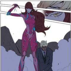 Aris reveals her nano suit.