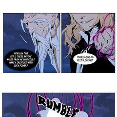 Frankenstein destroys the Anti-Clan Leader Weapon.
