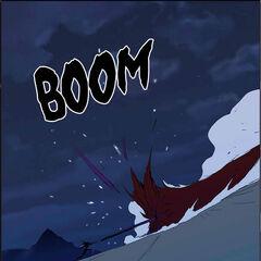 Dark aura meets Urokai's attack.