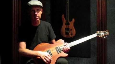 Tom Dumont with his Zora guitar (prototype 3) at GJ2 Guitars, made by Grover Jackson