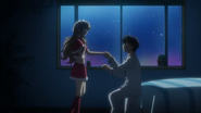 Yuuto putting on the ring he gave to haruka on their christmas eve on her ring finger