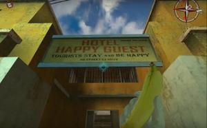 NOLF2 HotelHappyGuestSign