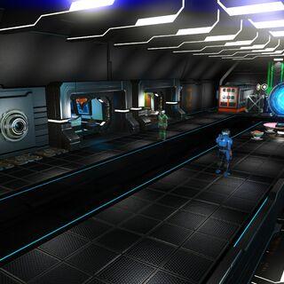 Espace de droite de la station, avec les agents de mission, le terminal du marché galactique et le <a href=