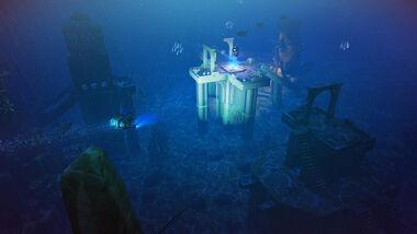 水中遺跡を発見