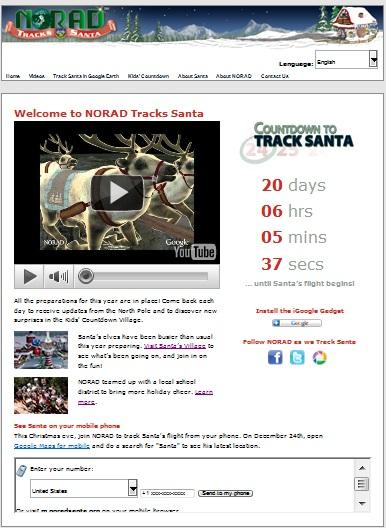 NORAD Tracks Santa - Homepage - Pre-Xmas - 2010