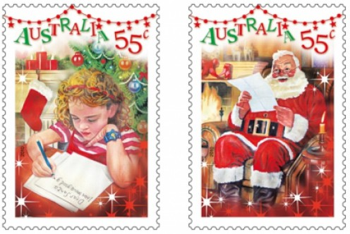 E mail and letter writing to santa claus norad tracks santa wiki australias postage stamps for christmas 2010 illustrating a child writng a letter and santa reading one spiritdancerdesigns